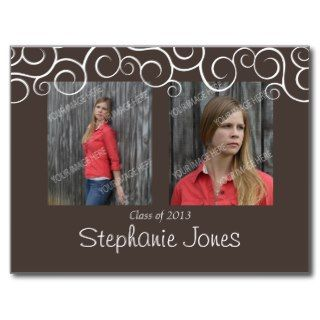 Brown/White Swirls Graduation Postcard