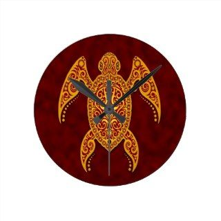 Golden Red Intricate Sea Turtle Round Wallclock