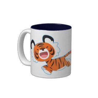 Cute Cartoon Tiger On The Run Mug