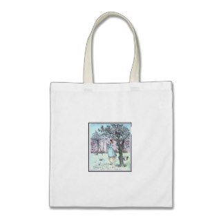 Bag Vintage Illustration Woman Hanging Laundry