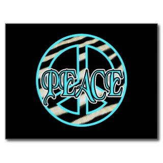 Zebra Print Peace Sign Post Card