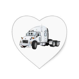 Semi Truck Cab White Heart Stickers