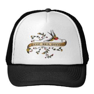 Swallow and Scroll with Deep Sea Diving Trucker Hat