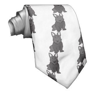 Scottish Terrier Dog Cartoon Custom Tie