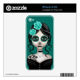 Sad Day of the Dead Girl on Teal Blue Decals For iPhone 4