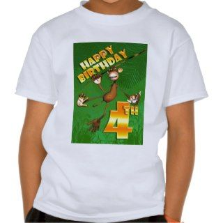 Happy 4th Birthday Monkey Banana Tee Shirt