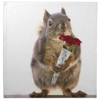 Squirrel Holding Red Rose Bouquet Napkin