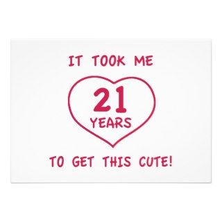 Funny 21st Birthday Gifts (Heart) Custom Announcement