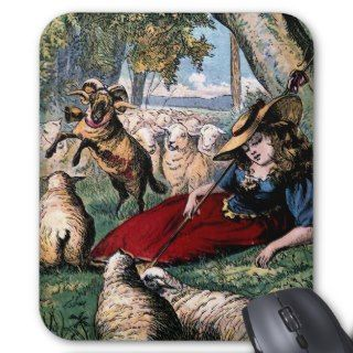 Little Bo Peep Asleep Vintage Illustration Mousepads