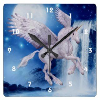 Flying Unicorn And Waterfall Fantasy Art Clock