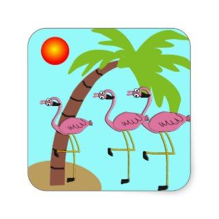 Pink Flamingos and Palm Tree Gifts Square Stickers