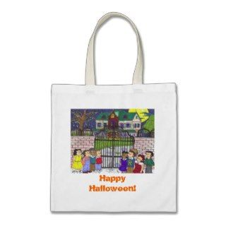 Kids Looking at a Haunted House   Tote Bag