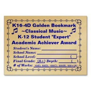 K16 4D Golden Bookmark ~Classical Music~ 100ct Business Card Template