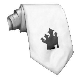 Haunted House with Four Towers. Black and White. Custom Tie