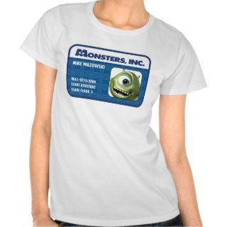 Monsters Inc. Mike Wazowski employee ID card Tshirts