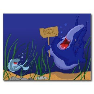 Hungry Shark and Laughing Fish Postcard