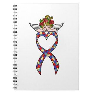 Autism Heart Ribbon Angel Note Books
