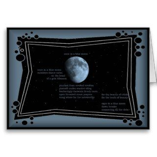 once in a blue moon   poetry art everday note card