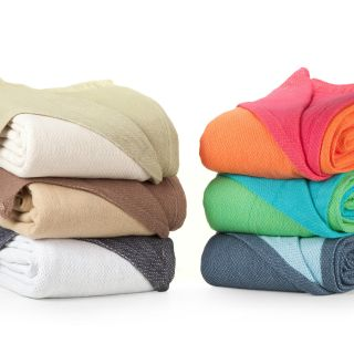 Elite Home Products Anna Reversible Cotton Blanket   Blankets at