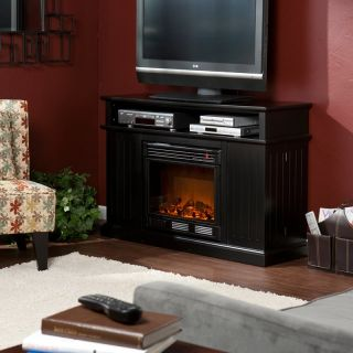 Kingsbury Black Electric Fireplace Media Console   TV Stands at