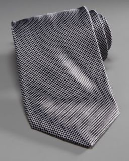 Stefano Ricci Mini Houndstooth Silk Tie, Gray