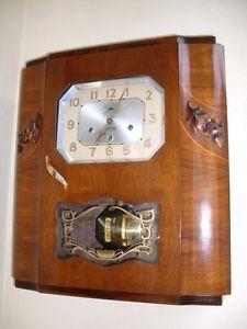 Antique Wall Clock Art Deco Westminster Morbier Romanet FFR 1940 with Pendulum