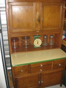 Antique Hoosier Cabinet Yellow Green Enamel Top Refurbished Clean