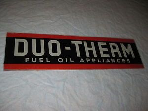 Vintage Advertising Glass Sign Duo Therm Fuel Oil Appliances Store Display