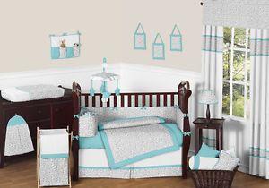 JoJo Designs Turquoise Grey Cheetah Animal Print Baby Boy Girl Crib Bedding Set