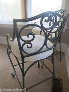 3 Spanish Industrial Wrought Iron Kitchen Chair Counter High Bar Stools Pair 1