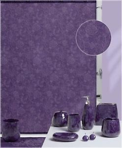 New Purple Floral Shower Curtain Rug and Ceramic Bath Accessories Set