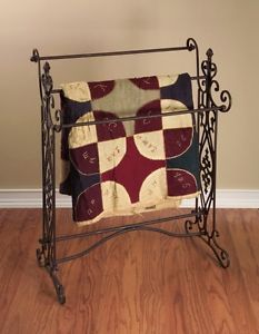 French Country Tuscan Scrolled Brown Wrought Iron Quilt Bathroom Bath Towel Rack