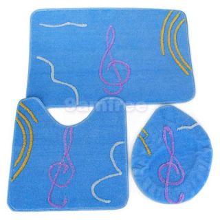 Royal Blue Bath Bathroom Toilet Lid Cover Mat Rug 3pc