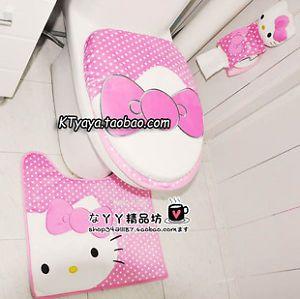 High Quality Hello Kitty Bath Mat Rug Toilet Seats Lid Cover Tissue Box
