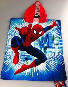 Marvel Ultimate Spiderman Hooded Poncho Beach Bath Swimming Towel New