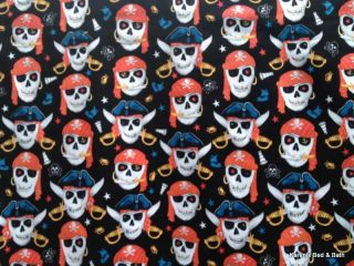 Pirates Skulls Knives Crossbones Swords Stars Boys Black Curtain Valance New