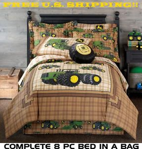 New John Deere Farm Tractor 8P Full Double Size Comforter Sheet Bed in A Bag Set