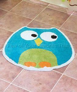 Owl Shaped Rug Mat Shower Bath Kids Adult Bathroom Blue Green Home Decor