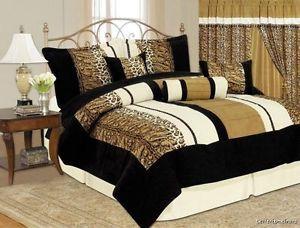 7 PC Comforter Set Tan Black Suede Leopard Cheetah Size Queen Bed in A Bag