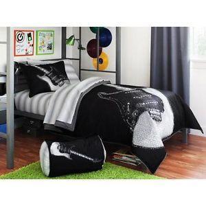 Twin Boys Teen Black Gray Rock on Guitar Comforter Sheets Bed Bag Bedding Set