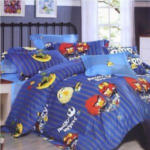 Cotton Blue Stripe Full Angry Birds Bedding 4in1 Comforter Cover and Sheet Set