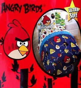 Rovio Angry Birds Blue Twin Comforter Sheets 4pc Bedding Set New