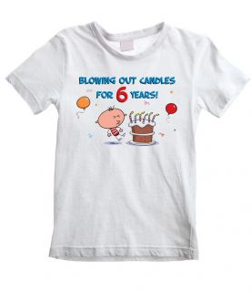 Blowing Out Candles for 6 Years Boys T Shirt 6th Birthday Present Gift Party