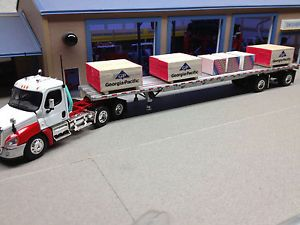 1 64 DCP Red White Freightliner Cascadia w Trailer Load of Building Supplies