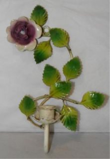 Antique Hand Painted Italian Tole Wall Candle Sconce Leaves Purple Rose