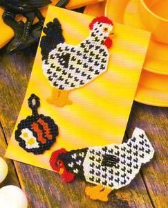 Country Chicken Set Magnets Plastic Canvas Pattern from Annie'S