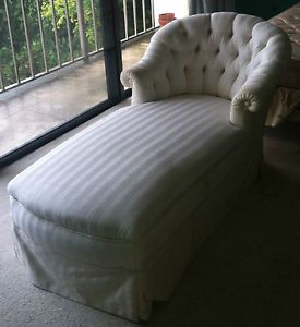 Chaise Lounge Chair Sofa Bed Ivory White Satin Striped Fabric Palm Beach Pickup