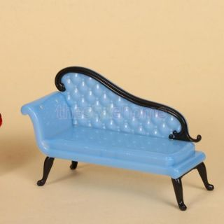 Blue Barbie Sized Dollhouse Furniture Chaise Lounge Attractive Sofa Toys Parts