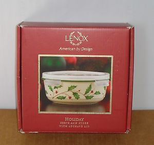 Lenox Christmas Holiday Serve and Store Storage Serving Dish w Locking Lid