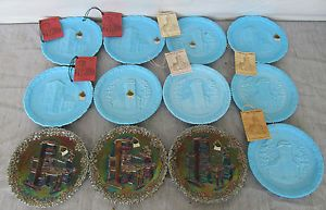 12 Vintage Fenton Plates Christmas in America Blue Plates Carnival Glass Plates